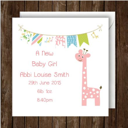 Personalised Giraffe Baby Girl Card